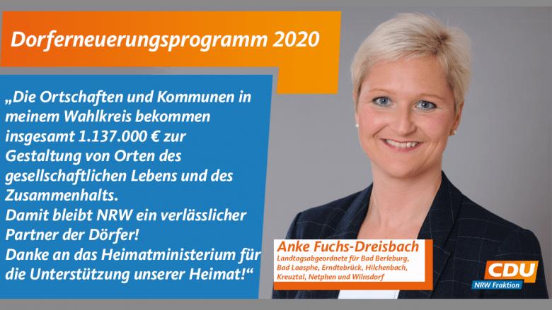 Anke Fuchs-Dreisbach zum Dorferneuerungsprogramm 2020