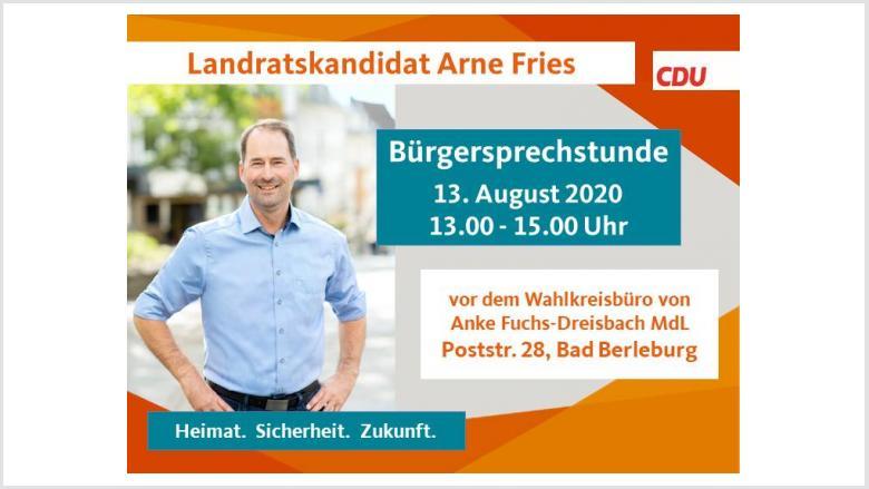 Bürgersprechstunde mit Landratskandidat Arne Fries am 13. August
