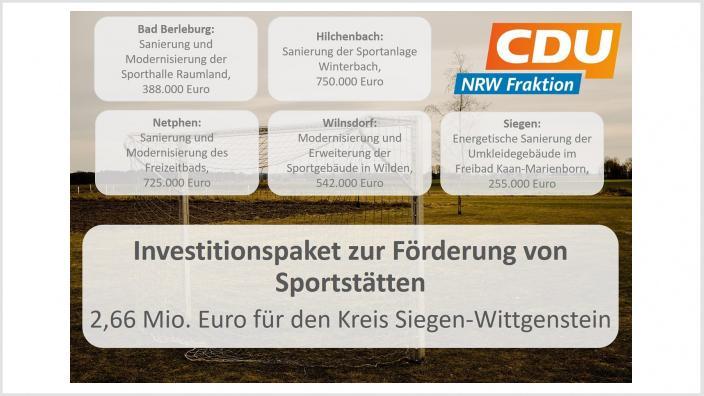 Fördermittel für Siegen-Wittgenstein aus dem Investitionspakt für Sportstätten.